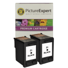 HP C9351A 21 Compatible Black Ink Cartridge Twin Pack Deal