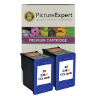 HP C9352A 22 Compatible Colour Ink Cartridge Twin Pack Deal