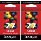 Lexmark 27 10N0227 TWIN PACK Original Moderate Use Colour Ink Cartridge